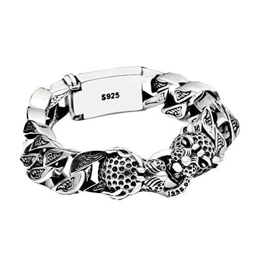 HHW Pulsera De Plata De Ley 925 con Cabeza De Leopardo Grande, Personalidad Punk, Animal, Tailandia, Pulsera De Plata Tailandesa, Joyería Exquisita para Hombres, 22cm 90g