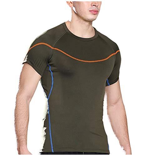 serliy Herren T-Shirt Sportshirt Fitnessshirt Atmungsaktiv Gym Shirt Lauf Shirt Training Running Shirt Schnell Trocknend Kurzarmshirt für Männe