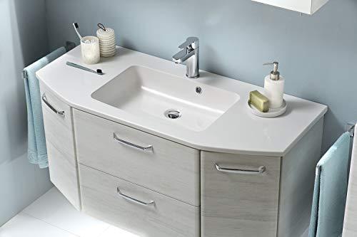 Pelipal - Amora 11 - Badmöbel-Set - 112 cm - 2-teilig Badset mit Mineralmarmor-Waschtisch usw. in Eiche weiß quer NB
