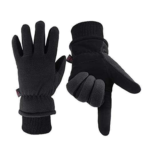 OZERO Thermal Gloves, Mens & Womens Deer Leather Winter Gloves for Cycling...