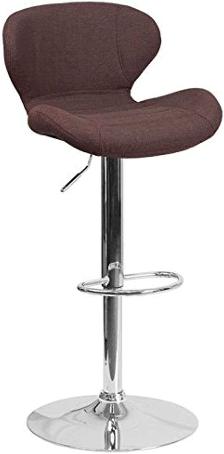 Bowery Hill Fabric Adjustable Bar Stool in Brown