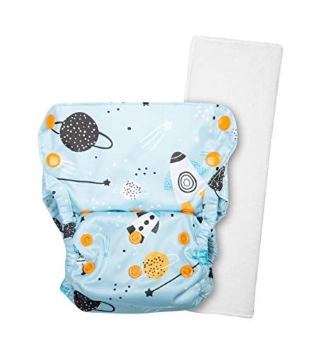 Justbumm Freesize Cover Diaper (Day use) with 1 Dry Feel Organic Cotton Prefold – Economical, Waterproof Cloth Diaper for 5-17 kg Babies (Blitzar), Sky Blue