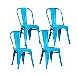 LYRWISHPB Metall Indoor-Gartenstühle Industrie-Art-Küchen stapelbare Beistellstühle mit rückseitigem Bistro Restaurant Red Metal Stuhl Indoor Outdoor stapelbare Bistro Cafe Stühle (Color : Blue)