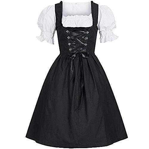 Chejarity Damen Frauen Oktoberfest Kostüm Dienstmädchen Kleidung Bierfest karnevalskostüme Vintage Elegant Deutsch Maid Maid Dress Bestickt Festival Cosplay Outfits Mädchen Dirndl (M, Schwarz)