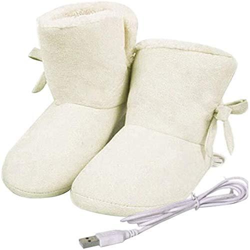 SXFYMWY Calientapies USB Calzado Calefactor eléctrico Calzado Calefactor eléctrico con Pantuflas calentadoras de Felpa Cómodas Botas calefactadas eléctricas para Mujer Mantén los pies más Calientes