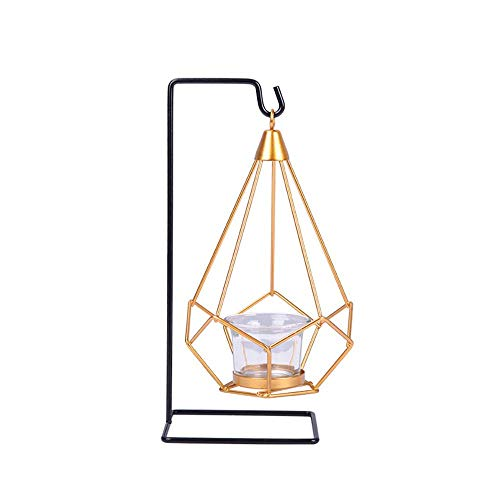 Candlestick Iron Candle Display Holder, Triangle iron Frame Candle Stick Holders Hollow Tealight Lantern Wedding Candleholder Centerpieces for Table Floor Desk Decoration (C),Size:D ( Size : A )