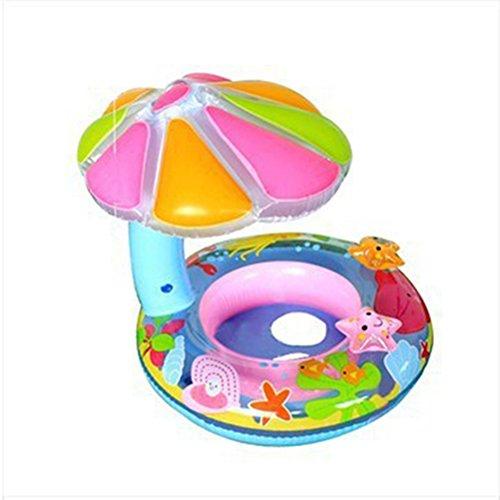 Clispeed Salvagente Gonfiabile con Parasole per Bambini 1-36 Mesi Gonfiabile Giocattolo Giochi da Piscina Galleggiante