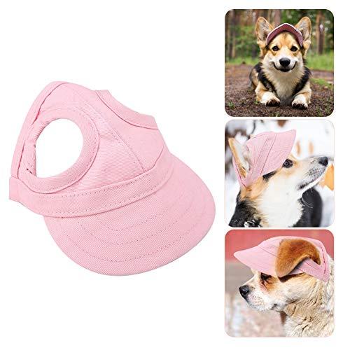 Pssopp Baseballmütze für Haustiere, Hunde Mütze Hund Sport Hut Hunde Sonnenhut Einstellbare Streifen Sommer Reise Hut mit Ohrlöcher(M-Rosa)