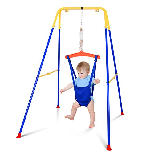 Baby Door Jumper Bouncer with Super Stand, Foldable Jumper Exerciser with Safety Chair Set and Adjustable Strap, Doorway Swing Jump Up Seat Exercise Toddler Infant 6-36 Months