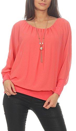 Malito Damen Bluse mit passender Kette   Tunika mit ¾ Armen   Blusenshirt mit breitem Bund   Elegant - Shirt 1133 (Coral)