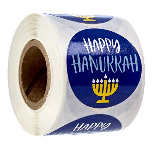 Happy Hanukkah Stickers/250 Menorah Labels