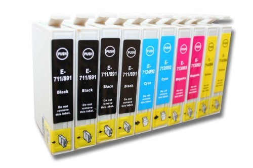 10x Cartuchos DE Tinta Compatible con EPSON Stylus Office DX4400 / DX4450 (Entre Otros) Impresora