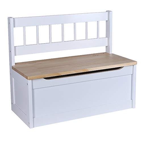 Kinder Sitztruhe weiß Truhenbank mit Stauraum und Deckelbremse, Spielzeugtruhe Sitzbank 60cm Kinderbank Holz lackiert
