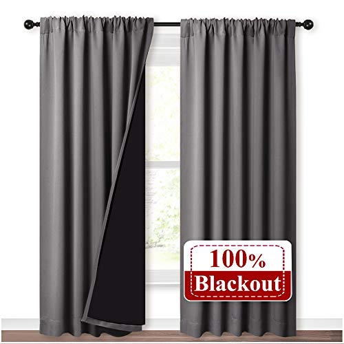 NICETOWN Blackout Curtains for Bedroom, Pair of Energy Smart & Noise Blocking Out Full Shade Curtain Panels, Thermal Insulated Guest Room Rod Pocket Window Dressing(Gray, 52 x 84 inch)