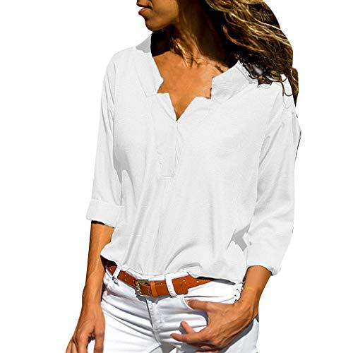 Ranta Damenbluse, langärmlig, Knopfleiste, Tunika, Hemd, V-Ausschnitt, schick, einfarbig, OL Top Gr. Small, weiß - 72920