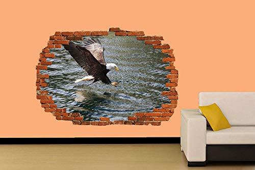 EAGLE BUCEO EN EL LAGO PARA CAZAR ETIQUETA DE PARED DECORACIÓN DE LA HABITACIÓN MURAL Póster Arte 3D Mural 50x70cm