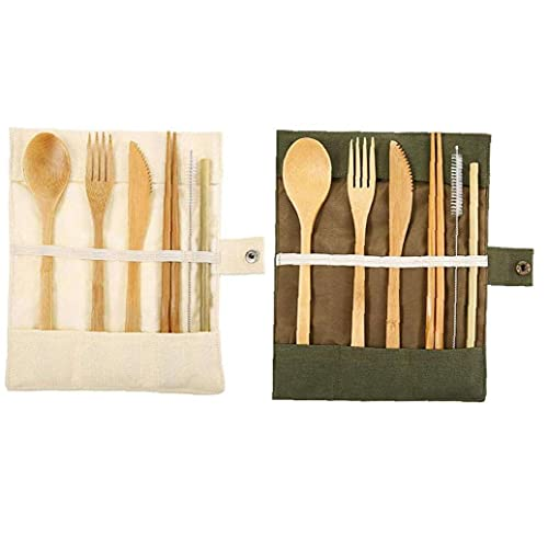 YepYes Eco-Friendly Bamboo Cutlery Set| Reusable Travel Cutlery | Flatware Set | Knife, Fork, Spoon and Straw| Wooden Cutlery Set | Organic Cutlery Set with Travel Pouch|Time To Bamboo