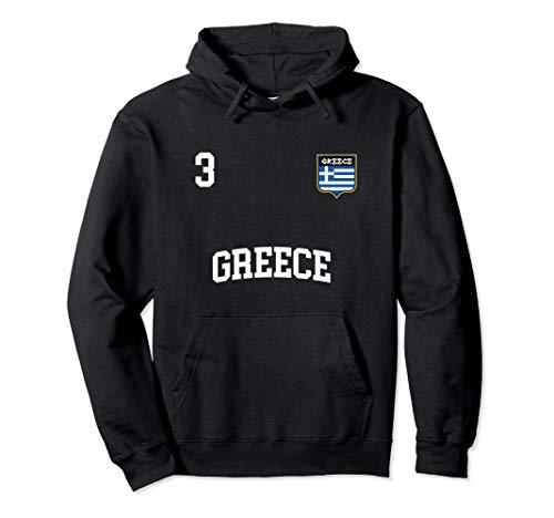 Griechenland Fußball Mannschaft Nummer 3 Griechisch Flagge Pullover Hoodie