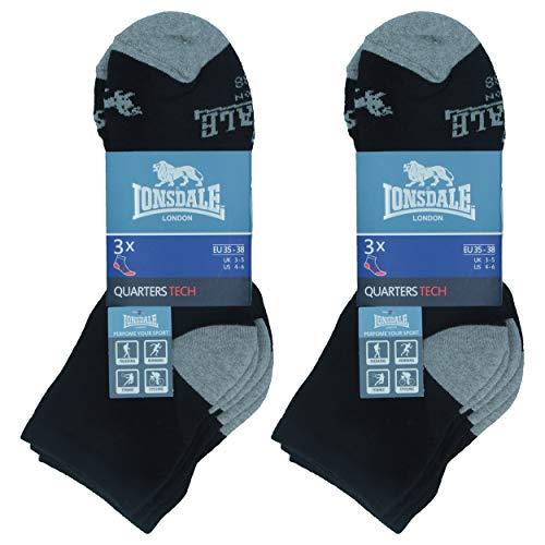 Lonsdale Quarter Tech 6 Paar ideale Socken für Trekking, Rennen, Tennis, Radfahren, ausgezeichnete Baumwollqualität (Schwarz, 43-46)