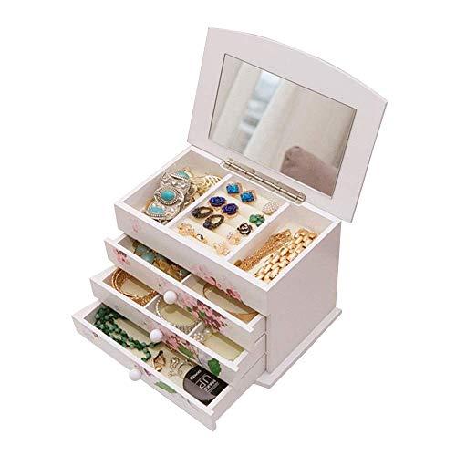 COLiJOL Caja de Joyería para Muebles Caja de Madera para Joyería de 4 Capas Organizador de Cajones Caja de Joyería con 3 Impresiones Caja de Joyería Collar de Joyería Anillo Pulsera Armario Soporte d