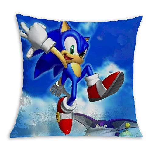 3354 So-nic The He-dg-ehog Leap Funda de cojín suave para cama, sofá de 45,7 x 45,7 cm