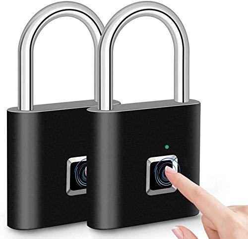 Fingerprint Padlock Fingerprint Smart Lock IP65 Waterproof Keyless Anti-Theft, Security Digital Lock Portable for Gym Locker, Door, Luggage, Suitcase, Handbags, Wardrobes,Backpack