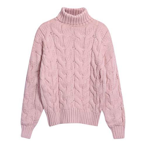 ZYUEER Pull Femme Hiver Chic Pas Cher Tricoté Col Roulé à Manches Longues Jumper Sweater Tops Blouse