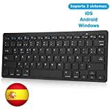 KVAGO Teclado Bluetooth Español Inalámbrico, Bluetooth Teclado para iPad,Tablets,Samsung,Huawei,Laptop, Compatible con Sistema iOS-Android-Windows,Movible Portátil Ultra-Delgado Teclado,Negro