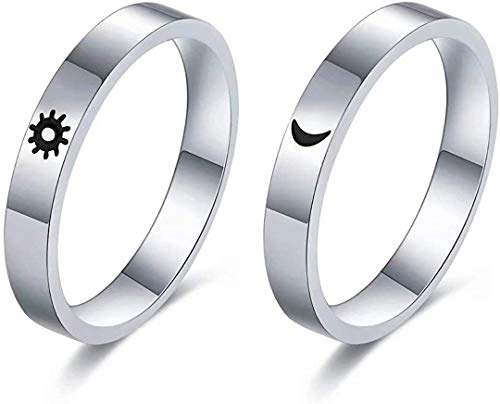 EBAT Matching Rings for Couples Sun and Moon Rings Personalized Heart Promise Couple Ring Customized Engagement Wedding Ring Band Sets for Him and Her Sterling Silver High Polished Comfort Fit