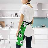 Ahomy Verstellbare Latzschürze mit 2 Taschen, Fußball- und Fußball-Schürze, für Damen, für Grill, Küche, Kochen, Basteln, Backen - 3