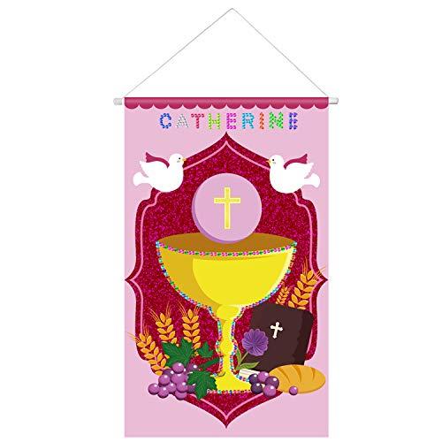 Kit de Bandera de Primera Comunión Decoración Santa Colgante de Puerta DIY con 2 Hojas de Pegatinas de Diamantes para Niños Juego de Decoración, 12 x 20 Pulgadas (Estilo Rosa de Santo Grial)