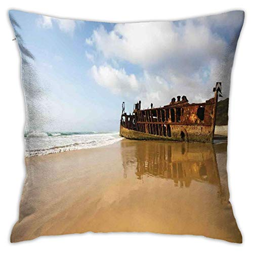 DHNKW Throw Pillow Case Cushion Cover,Antique Rusty Pirate Ship Wreck On The Coast In Caribbean Island Pacific Sea View ,18x18 Inches