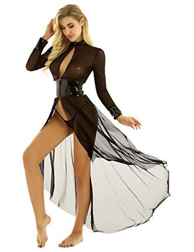 iEFiEL 2Pcs Damen Langarm Nachthemd Transparent Königin Cosplay Nachtwäsche Set mit G-String Lackleder&Mesh Patchwork Lingerie Dessous A Schwarz M