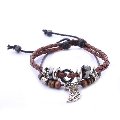 Morella Damen geflochtenes Armband aus Leder mit Ringen, Beads und Blatt Anhänger