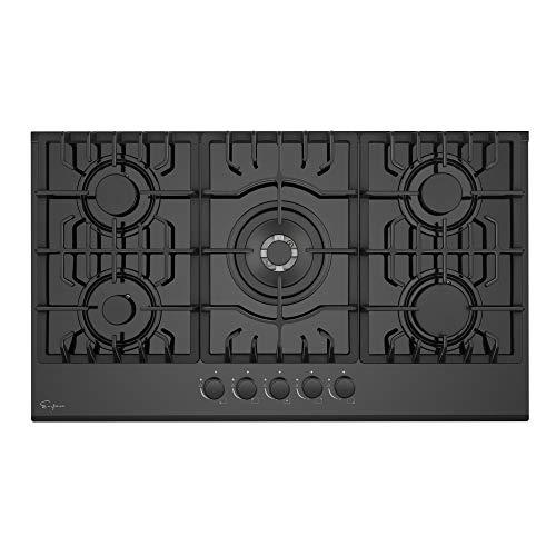 "Empava 36"" Bulit-in Tempered Glass Gas Cooktops 5 Italy Imported Sabaf Burners Stove Tops, 36 Inch, Black"