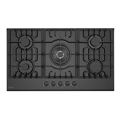 Empava 36' 5 Italy Sabaf Sealed Burners Gas Stove Top Gas Cooktop Black Tempered Glass LPG/NG...