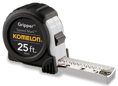 Komelon SM5425 Speed Mark Gripper Acrylic Coated Steel Blade Measuring Tape,...
