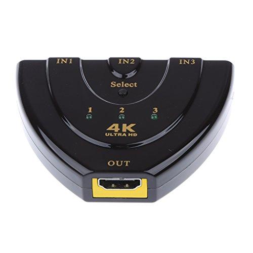 prasku Conmutador Conmutador 4K X 2K 3 Puertos 3x1 para HDTV Xbox BLU-Ray Player