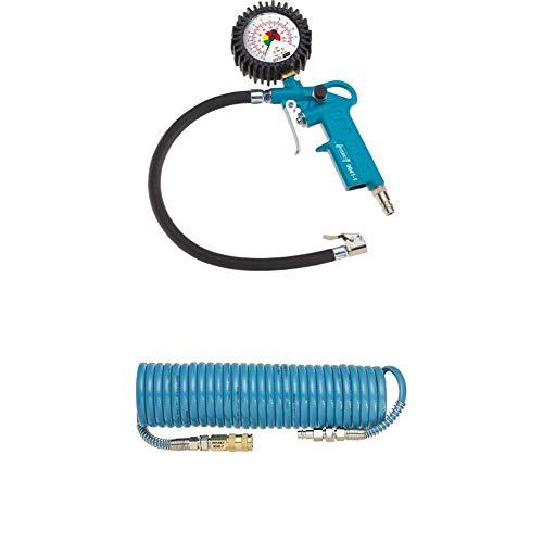 HAZET Reifenfüll-Messgerät (Manometer-Messbereich 0-12 bar, Schlauchlänge 400 mm, Manometer-Durchmesser: 63 mm) 9041-1 + Spiralschlauch (Länge 7,62 m, Innendurchmesser 6,35 mm) 9040-7