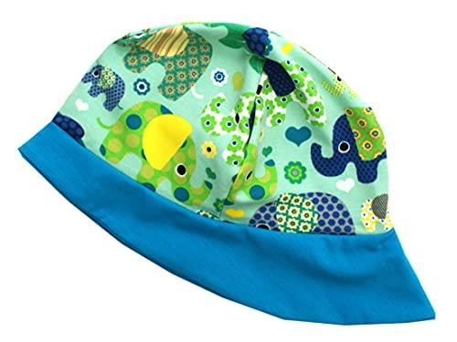 Kleine Könige Sonnenhut Sommer Mütze Baby Jungen · Modell Elefantenparty türkis, Petrol · Ökotex 100 Zertifiziert · Größe 110/116