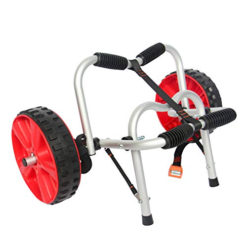 Onefeng Sports 100LBS Kayak Cart Canoe Carrier Trolley for Carrying Kayaks,Canoes,Paddleboards with Spring Button Design & Plastic Wheels-Don't Worry About Missing Clips or Tire Air Leaks