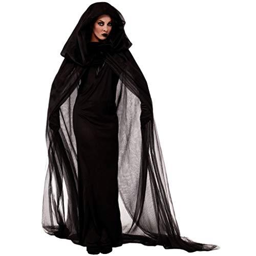 YAM DER Damen Schwarze Hexe Kostüm Kleid Geisterbraut Böse Königin Lange Cosplay Kleid Lange Vampir Umhang mit Kapuze Dame ausführen Kostüme Halloween und Abendkleid