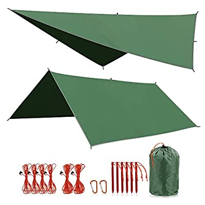 """REDCAMP Waterproof Camping Tarp - 36""""x83""""/55""""x83""""/71""""x83""""/82""""x82""""/95""""x83"""", 4 in1 Multifunctional Tent Footprint for Camping, Hiking and Survival Gear, Lightweight and Compact"""