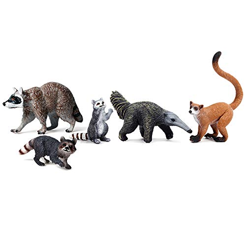 EOIVSH 5 PCS Forest Animal Toys Figurines, Woodland Animal Cake Toppers Party Favor Miniature Figure Playset Educational Model Toys Raccoon Family/Long-Tailed Langur/Anteater