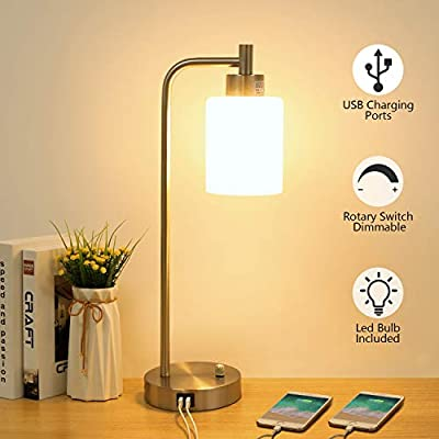 Industrial Table Lamp with 2 USB Charging Ports, Boncoo Stepless Dimmable Bedside Night Stands with Glass Shade Silver Metal Base Vintage Desk Lamp for Farmhouse Living Room 6W 2700K LED Bulb Included