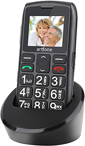 artfone Big Button Mobile Phone for Elderly,Upgraded GSM Mobile Phone With SOS Button | Talking Number | 1400mAh Battery | Dual SIM Unlocked | Torch Side Buttons | Bluetooth | Charging Dock(Black)