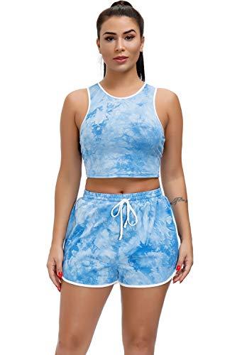 EVELIFE Tie Dye Mujer 2 Piezas Ropa Deportiva Mujer Gym Conjuntos Tops y Pantalones Cortos Elásticos Cintura Gimnasio Yoga Fitness Entrenamiento Chándal(Azul_Xxlarge)