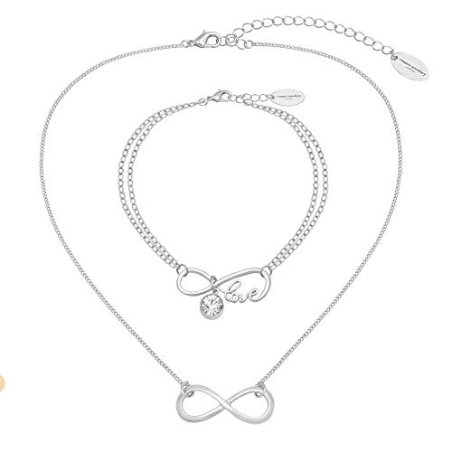 Caramel Jewellery London Collana e Bracciale Infinity Friendship Set in Placcato Argento 18ct. Infinity Friendship Collana con Una per L'Amore di Sparkle Infinity Bracciale di Amicizia per Le Donne