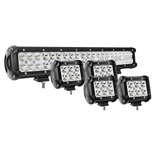 Nilight 50.8 cm 126 W Spot Flood Combo LED barra de luz 4 piezas 4 inch, 18 W Spot LED VAINAS luces…