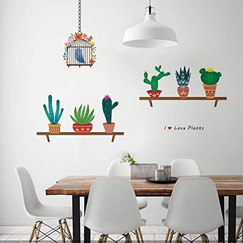 Muurstickers voor kinderkamer, cactus in Scandinavisch potje, doe-het-zelf kinderschillen en lijmen, wandsticker, afneembaar, voor kinderen, kleuterschool, wandtuin, woonkamer